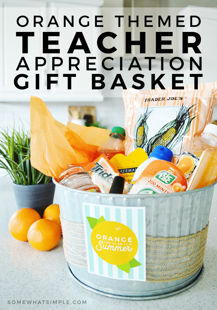 We can't get over how clever and adorable this teacher gift basket is! So easy to gift, and it will totally make a teacher's day! #giftbaskets #teacherappreciationideas #teacherappreciation #teacher #giftidea #easy #printable