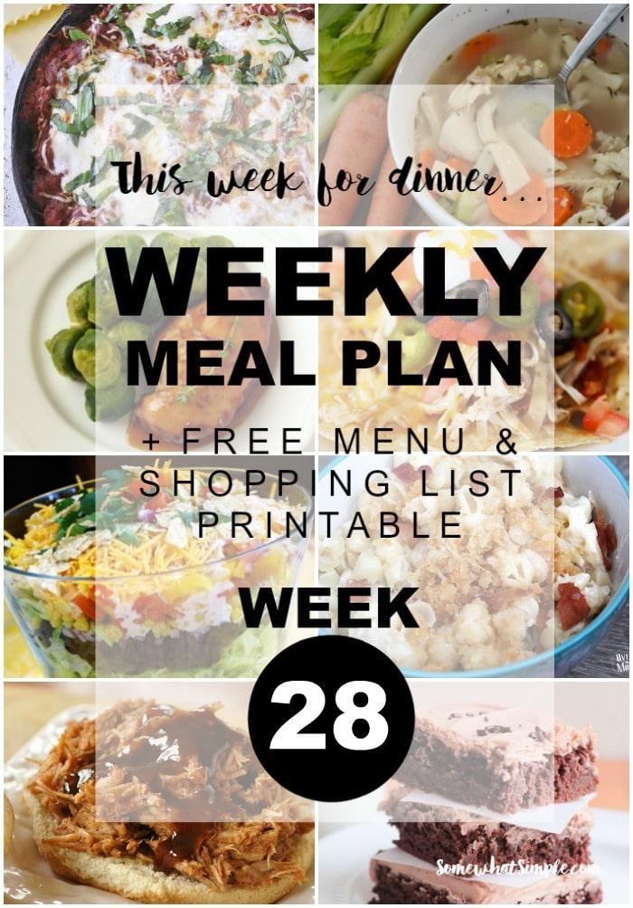 weekly menu plan - week 28