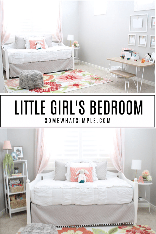 A darling daybed and brightly colored rug, plus a simple art station and reading corner - Addison't Little Girl's Bedroom is the perfect place for her to play, relax, and be creative with her little friends! #littlegirlsbedroom #girlsroom #bedroomdecor #kidsbedroom #daybed #artstation #readingcorner #bedroomideas via @somewhatsimple