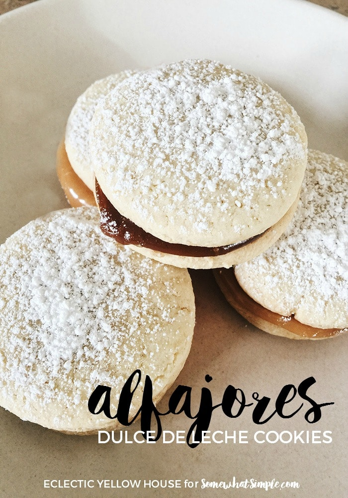 Alfajores cookie recipe with dulce de leche and topped with powdered sugar