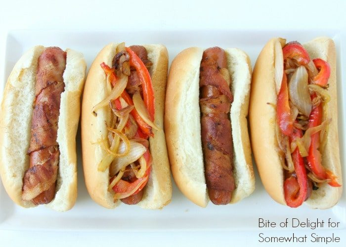 Bacon-Wrapped Hot Dogs are perfect for your next BBQ! Simple and delicious summer meal.