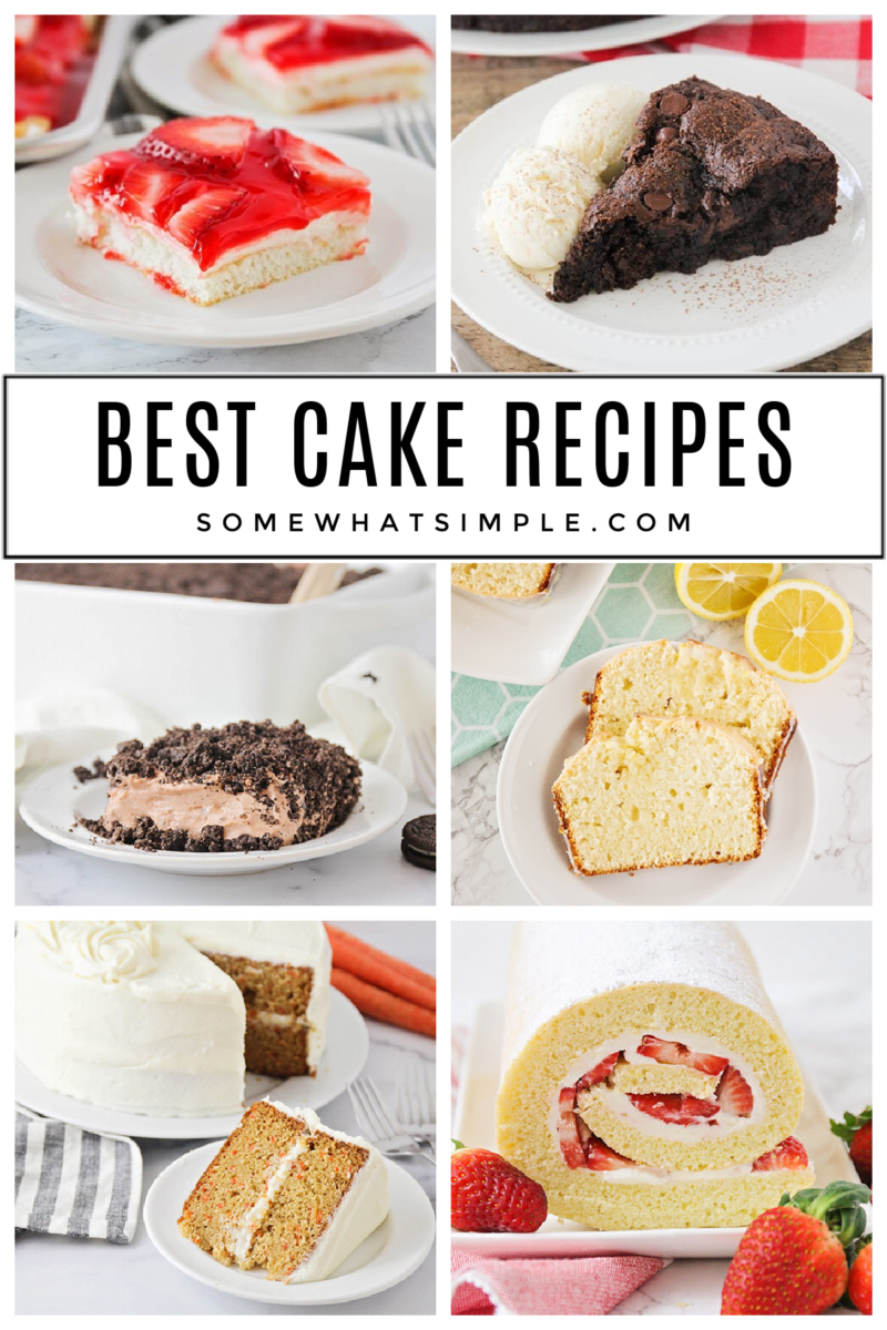 collage of 6 different cake recipes