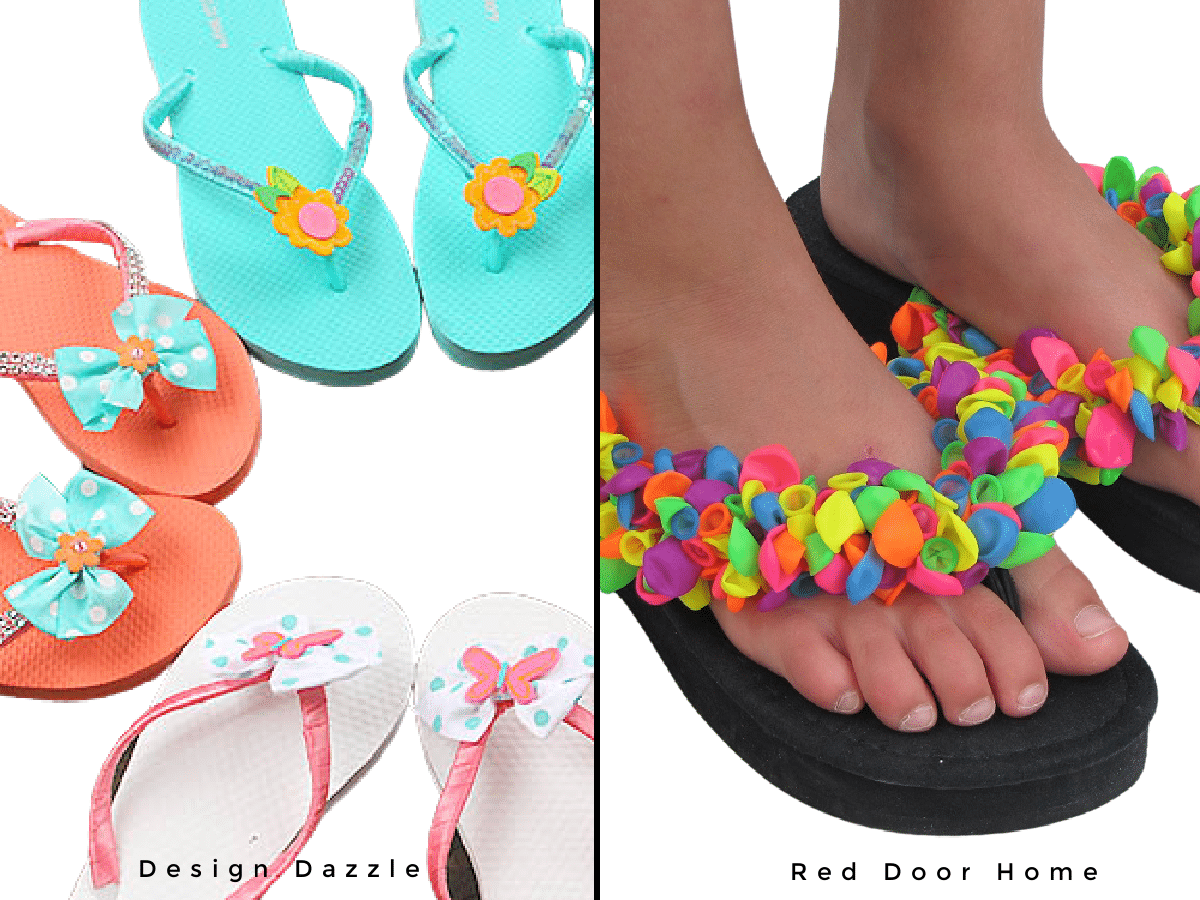 side by side image of flip flop refashions