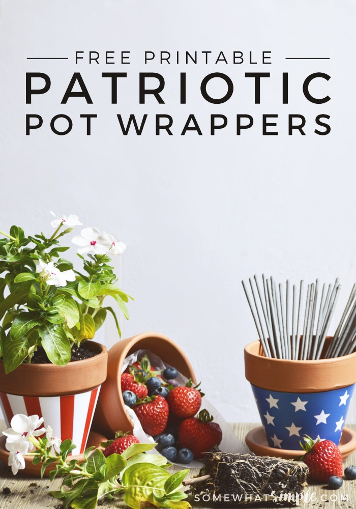 FREE PRINTABLE fourth of july plant + pot wrappers