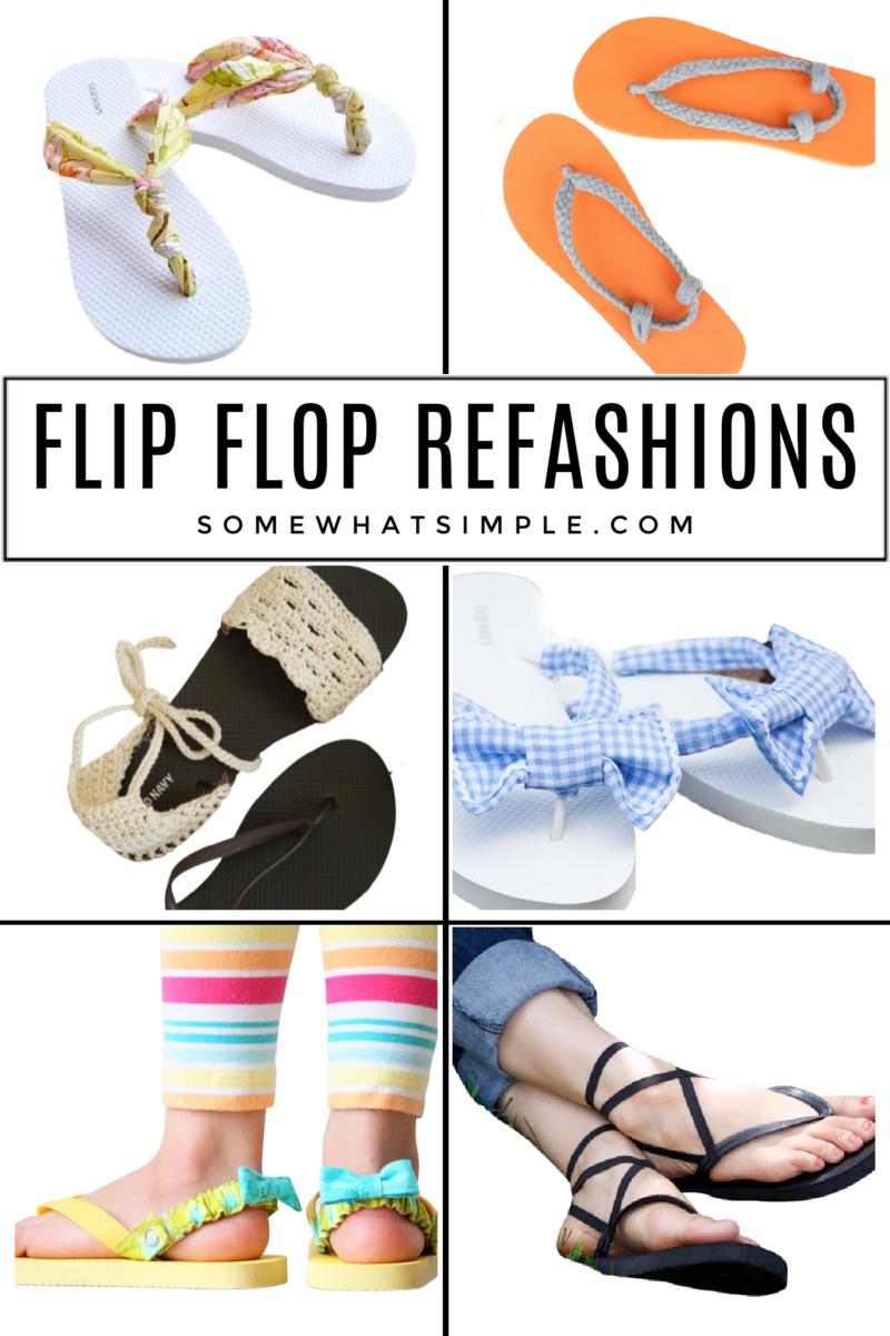 collage of flip flop crafts