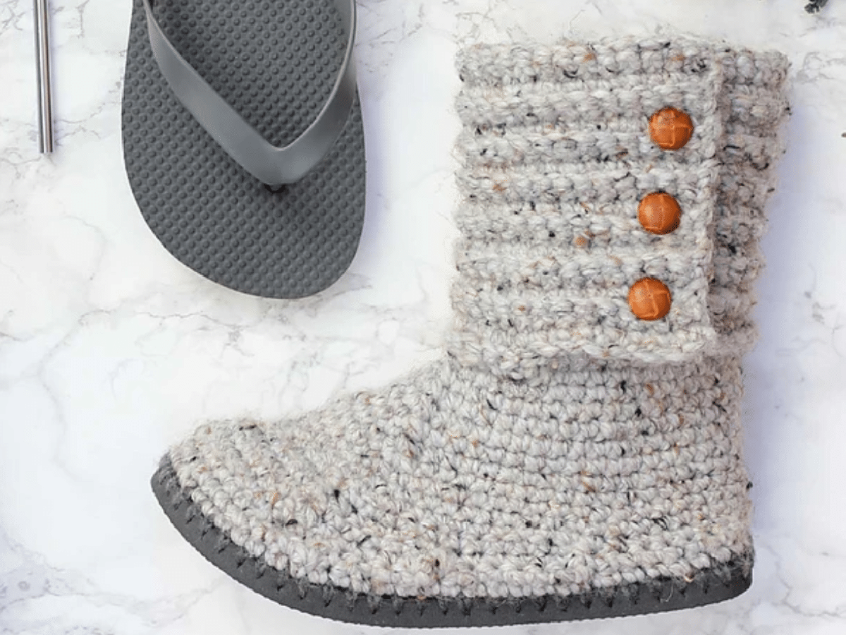Crochet Boots with a Flip Flop Sole