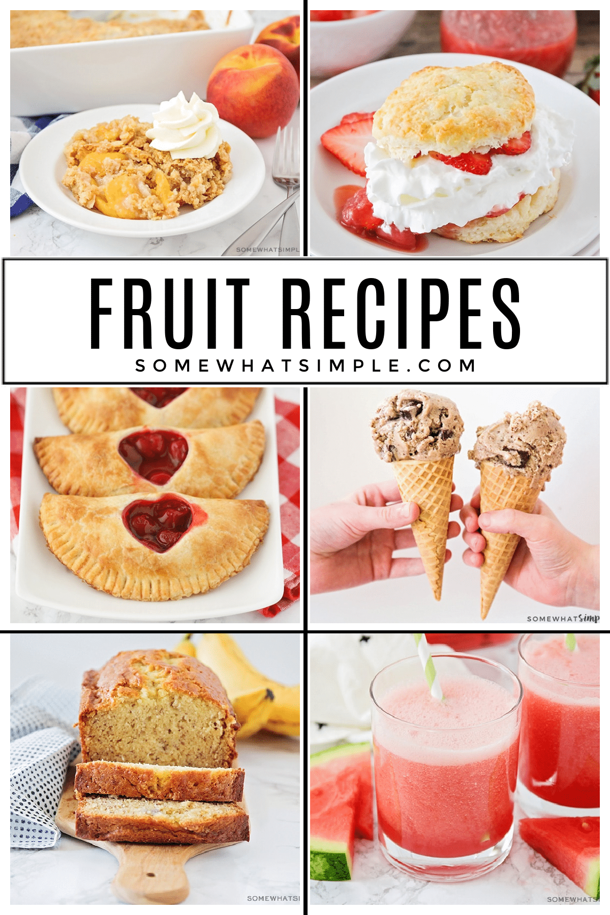Fruit salads, fruit smoothies, fruit baked goods, and MORE! Here is a list of over 100 favorite fruit recipes that will use up your ripe fruits before they go bad! via @somewhatsimple