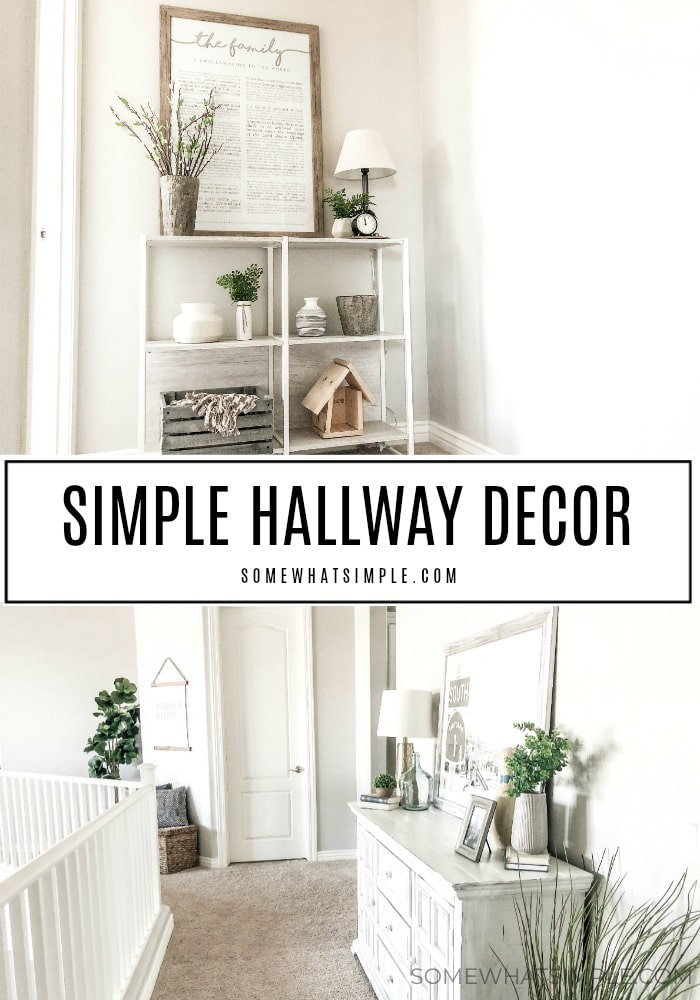 Turn your empty hallway into a fresh and functional living space! Today we're talking about Hallway Decorating Ideas and how to freshen up a space with a little bit of color! #hallway #decor #decoratingideas #hallwaydecor via @somewhatsimple