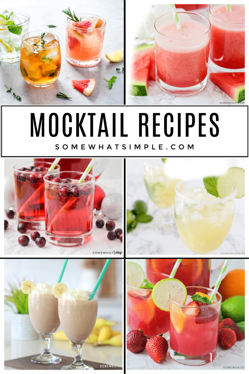 collage of 6 mocktail recipes