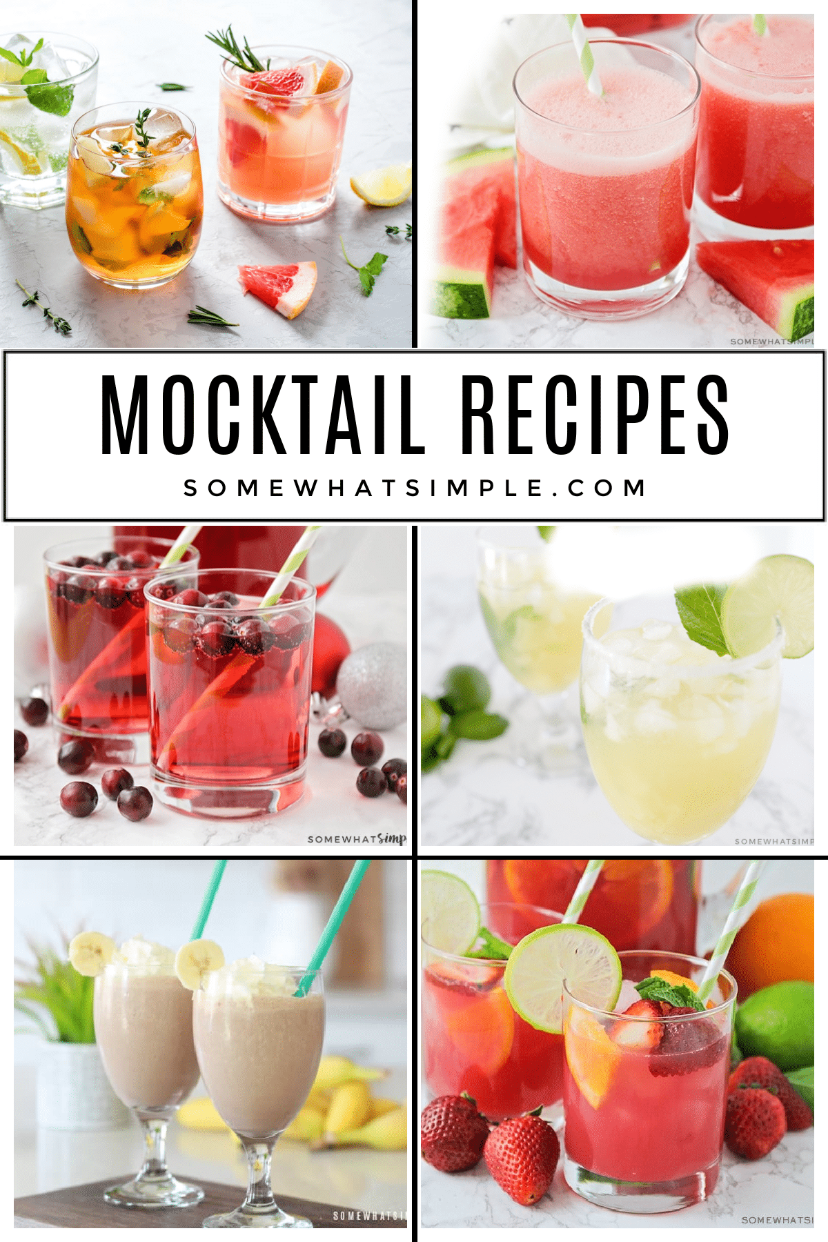 """10 favorite Mocktail Recipes, or """"Mocktails"""" that are easy to make, simply refreshing, and totally delicious! The perfect party drinks for guests of all ages! via @somewhatsimple"""