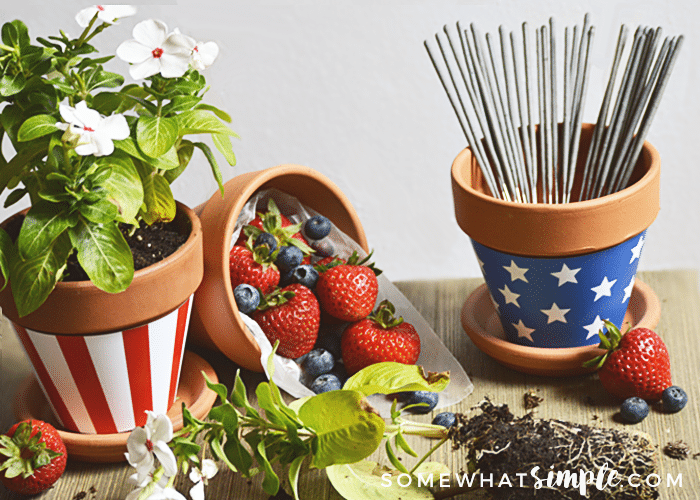 Patriotic Terra Cotta Pot Wrappers filler suggestions