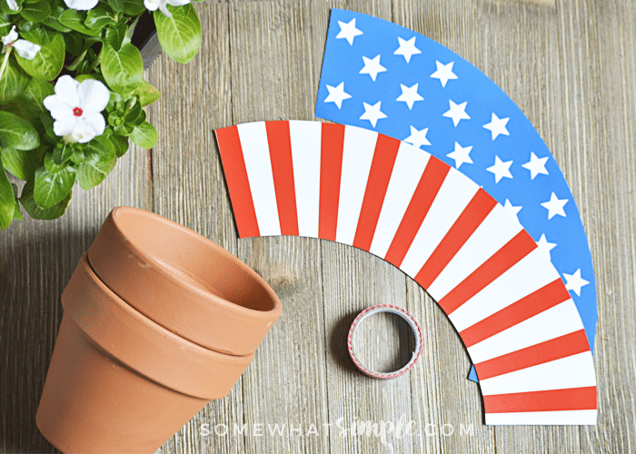 Patriotic Terra Cotta Pot Wrappers supplies