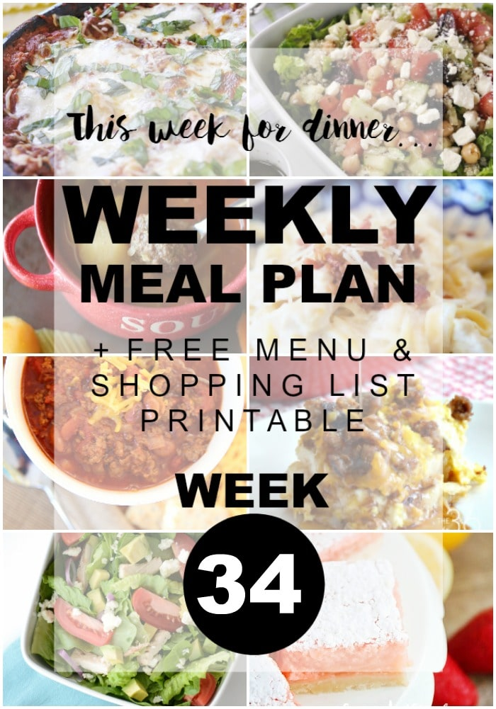 Weekly Meal Plan Week 34