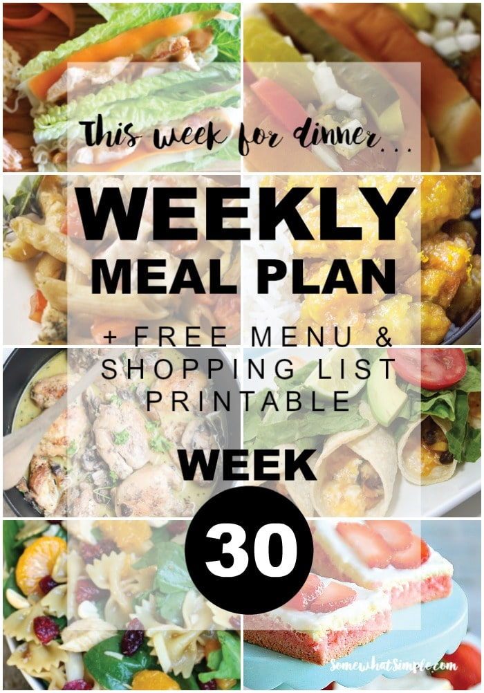 Weekly Menu Plan Week 30