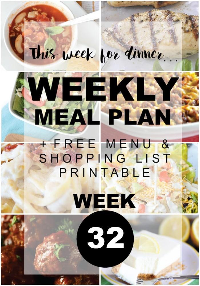 Weekly Menu Plan - Week 32
