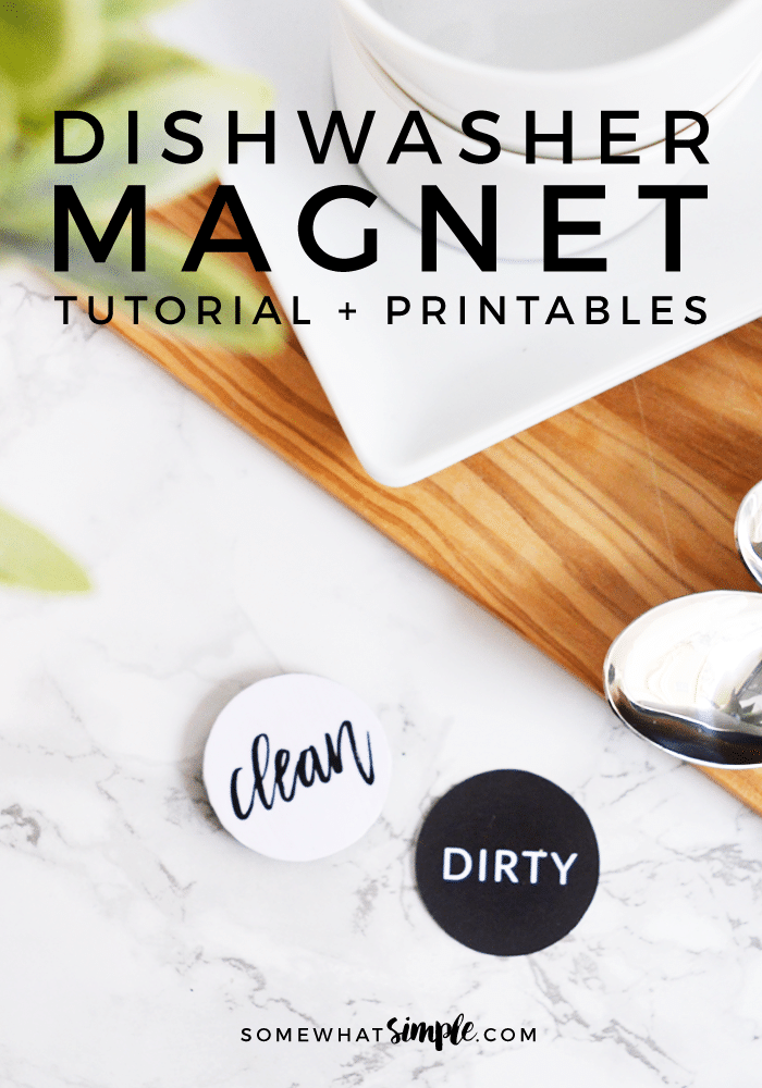 Are you tired of trying to guess if the dishes are clean or dirty? Then you need this simple DIY clean dirty dishwasher magnet in your life right now.  With this dishwasher magnet, you'll never have to wonder again! #cleandirtydishwashermagnet #dishwashermagnet #dishwashermagnetfreeprintable #diydishwashercleandirtymagnet #dishwashermagnetfreeprintable via @somewhatsimple