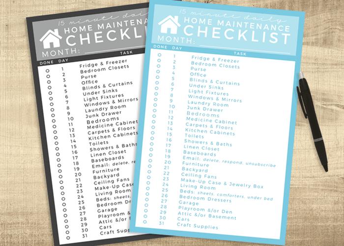home maintenance checklist main