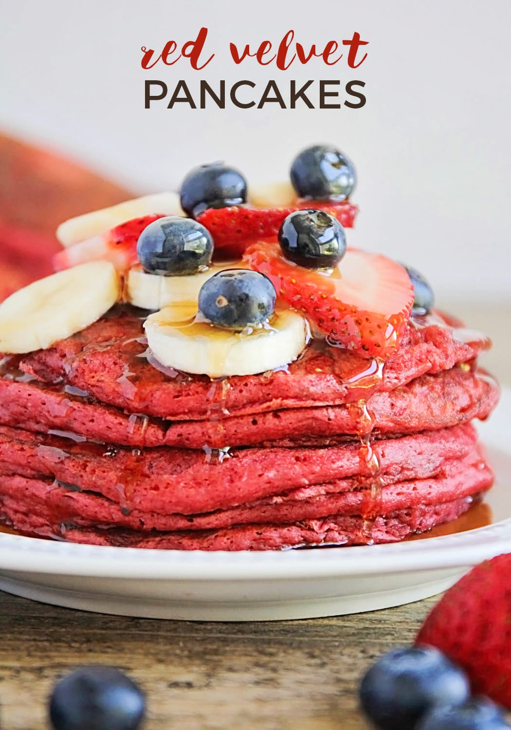 These Red Velvet Pancakes Are So Indulgent And Delicious!  If You're On The Hunt For A Show-Stopping Breakfast, Look No Further! These Red Velvet Pancakes Are As Beautiful As They Are Delicious, And Perfect For Any Special Occasion Breakfast. #breakfastrecipe #redvelvetpancakesrecipe #easyrecipe #valentinesday via @somewhatsimple