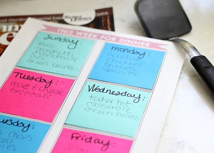 Back to School Organization - Meal Planning