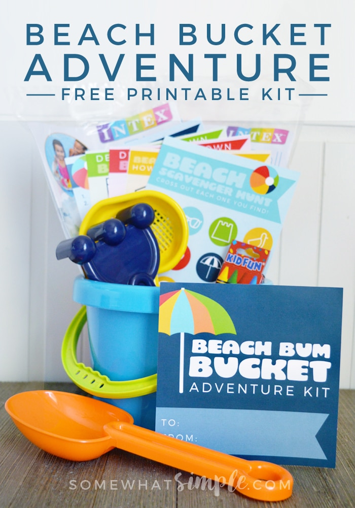 Get your kids even more excited about their next trip to the beach with this fun Beach Bucket Adventure Kit! via @somewhatsimple