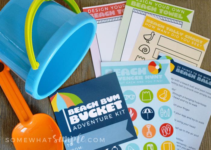 Beach bum bucket kit printables