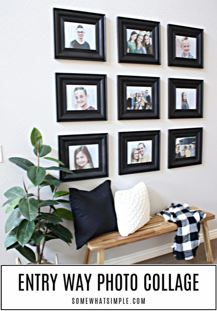 A blank wall in our entry way gets a fresh and affordable makeover using simple decor and a photo collage that really makes a statement! #gallery #wall #collage #decor #frames #pictures #display #walldecor via @somewhatsimple