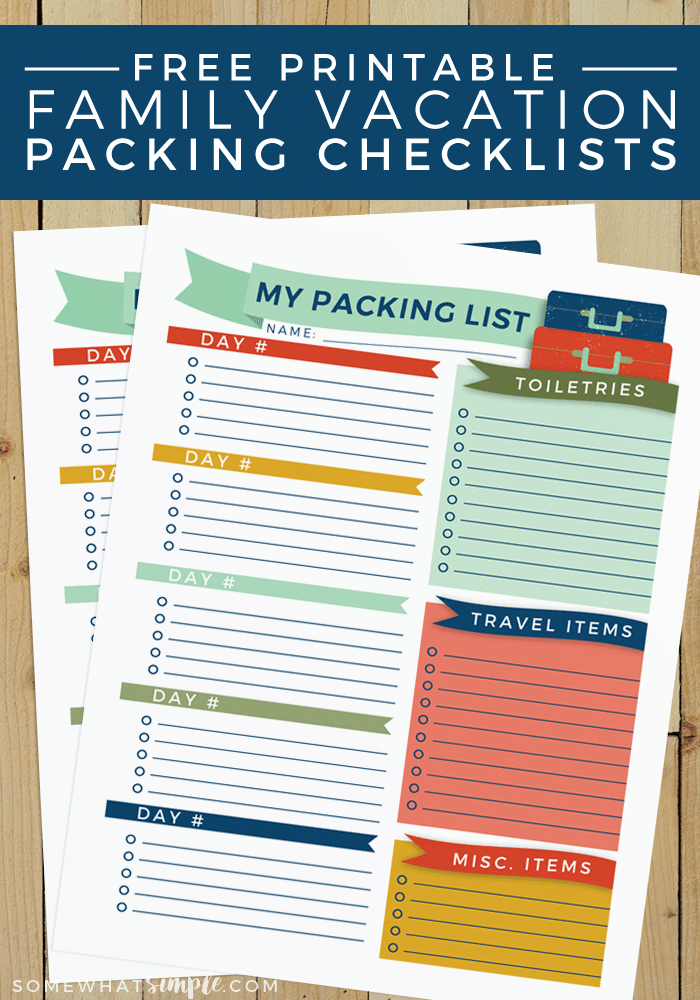 FREE PRINTABLE FAMILY PACKING LIST