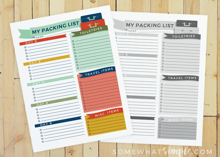 Travel Packing List – Free Printable