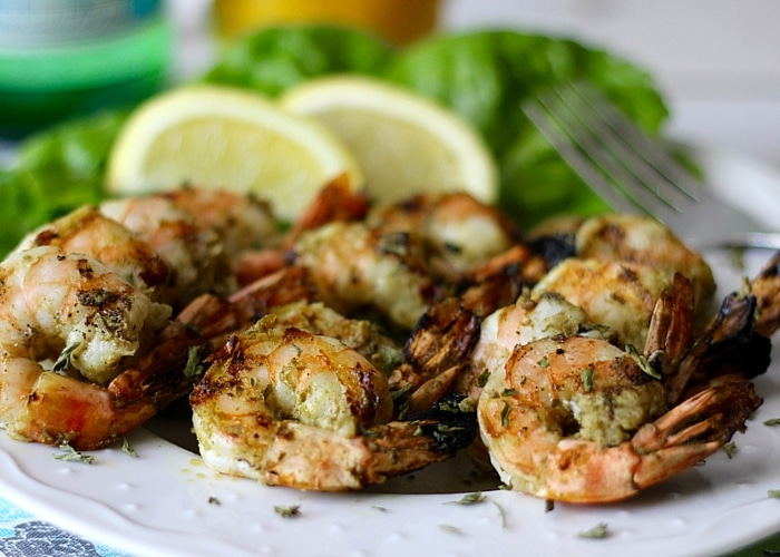 Grilled Pesto Shrimp on the BBQ