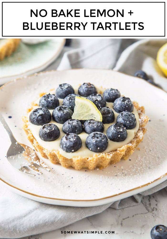 No-bake Lemon and Blueberry Tartlets are deliciously refreshing! Packed with citrus goodness and topped with juicy blueberries, these tablets create one amazing Summer dessert! #desserts #lemon #blueberry #tart #pie #tartlets via @somewhatsimple