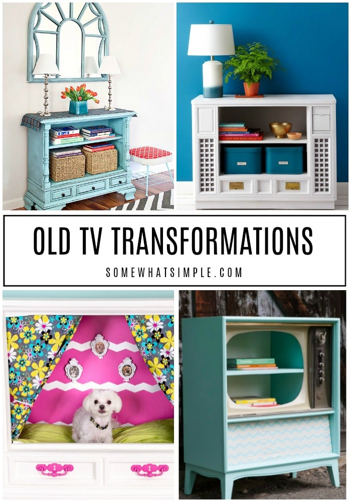 a collage of pictures showing old tv cabinets being upcycled into functional furniture