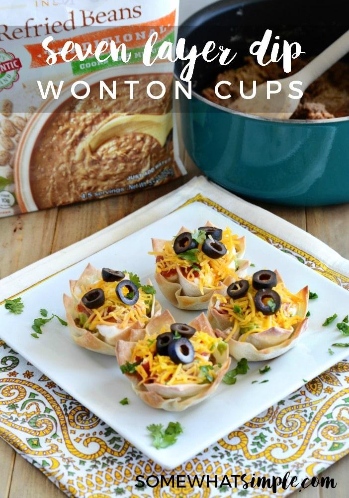 Seven Layer Dip Wonton Cups