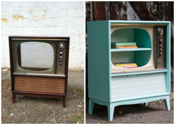 a vintage tv cabinet turned into a bookshelf