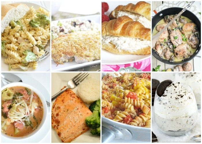 This week we have for you Italian Parmesan Pork Chops, Cheesy Alfredo Chicken Broccoli Bake, Mushroom Chicken Skillet, Tomato Basil Spinach & Tortellini Soup, Chili Mac, Slow Cooker Chicken Salad Sandwiches, and for dessert Individual No Bake Oreo Cheesecakes!