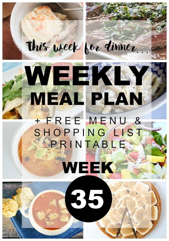 Weekly Menu Plan Week 35