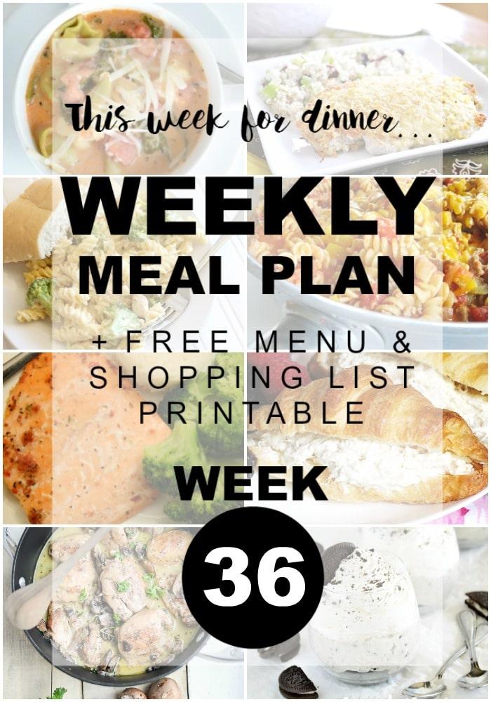 Weekly Menu Plan - Week 36