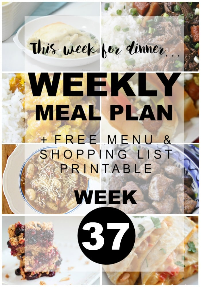 Weekly Menu Plan Week 37 - Artichoke Spinach Baked Ravioli, Slow Roasted Pork Carnitas, Shrimp Quesadillas, Slow Cooker Chinese Pot Roast, Lemon Chicken, Easy Chicago Dogs, Italian Sausage Gnocchi Soup, and for dessert Healthy Berry Streusel Bars.