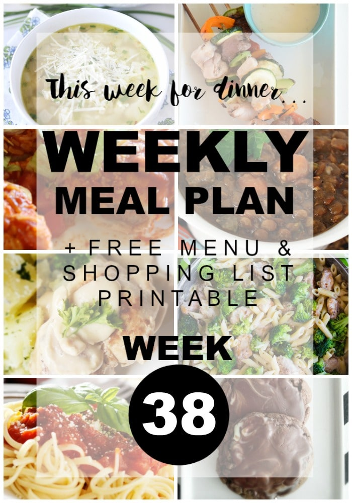 Weekly Menu Plan Week 38