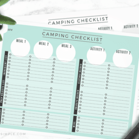a blank camping checklist where you can write items that you need to bring for food and activities