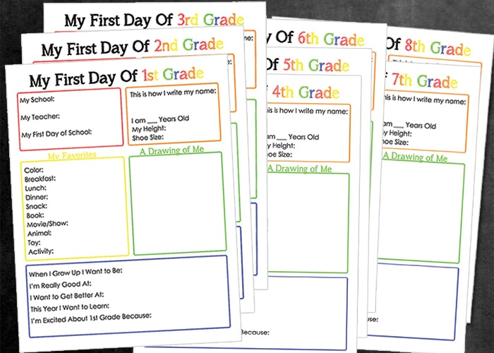 First day of school worksheets for 8th grade