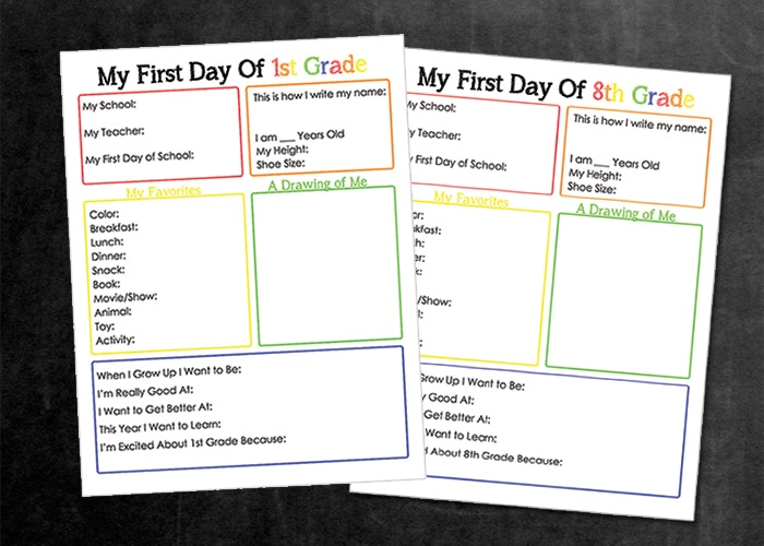 First day of school interview for 1st grade through 8th grade free printable