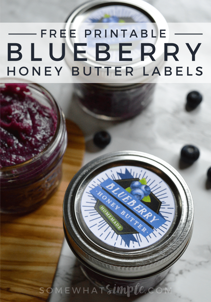 free printable blueberry honey butter labels