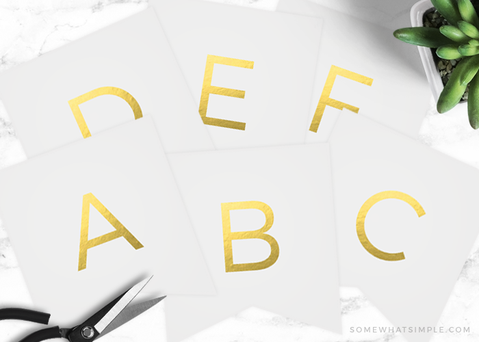 Free Printable Gold Banner | Includes Entire Alphabet!