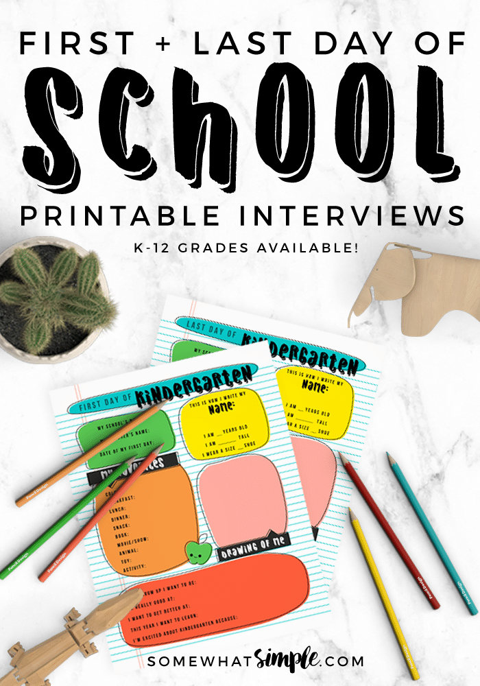 Don't miss out on precious memories, grab your  first + last day of school interviews printable, just in time for the first day of school! #printable #kidsactivities #journal #journaling #endofschool #backtoschool