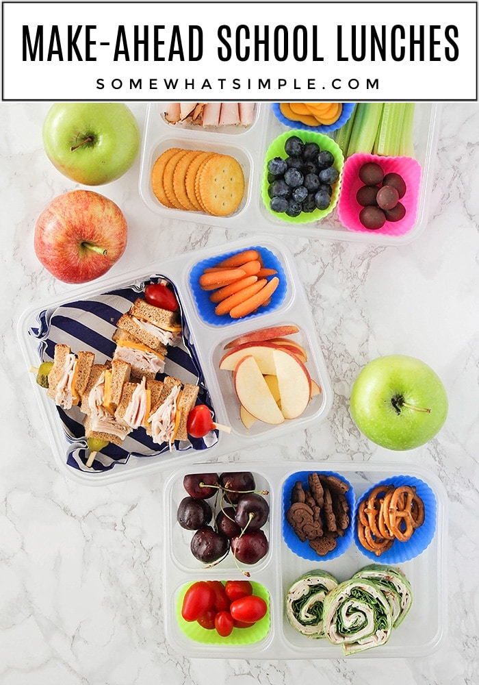 Here are 10 Make Ahead School Lunch ideas that will make your morning routine faster and easier. #lunch #backtoschool #school #easyrecipe #recipeideas via @somewhatsimple