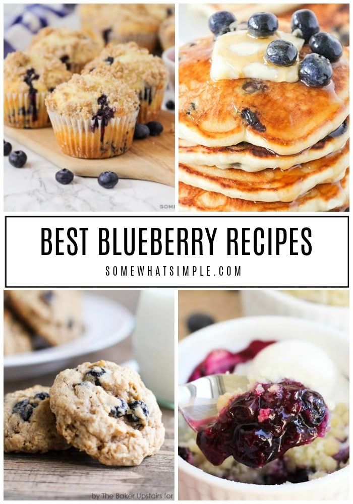 From cobblers and cookies to smoothies and sweets, here are 25 of our favorite blueberry recipes that are simply delicious! #Blueberryrecipes #easyblueberryrecipes #easyblueberrydesserts #blueberrymuffins #healthyblueberryrecipes via @somewhatsimple