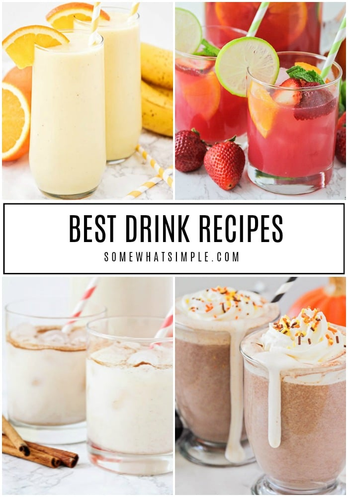 From lemonades to mocktails and punch recipes for kids, there's literally a drink for every occasion! Cool down or warm up with our 30 favorite drink recipes! #drinks #recipes #hotcocoa #smoothies #hotchocolate #mocktails #lemonade via @somewhatsimple