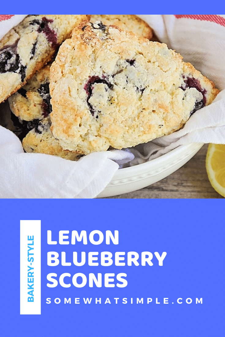 These blueberry lemon scones are flaky, delicious and so easy to make!  With the perfect combination of sweet and sour, these scones are irresistible.  They're so perfect, you'll think you picked them up from the bakery. #blueberrylemonscones #howtomakescones #breakfastpastry #easysconesrecipe #bestblueberrylemonscones via @somewhatsimple