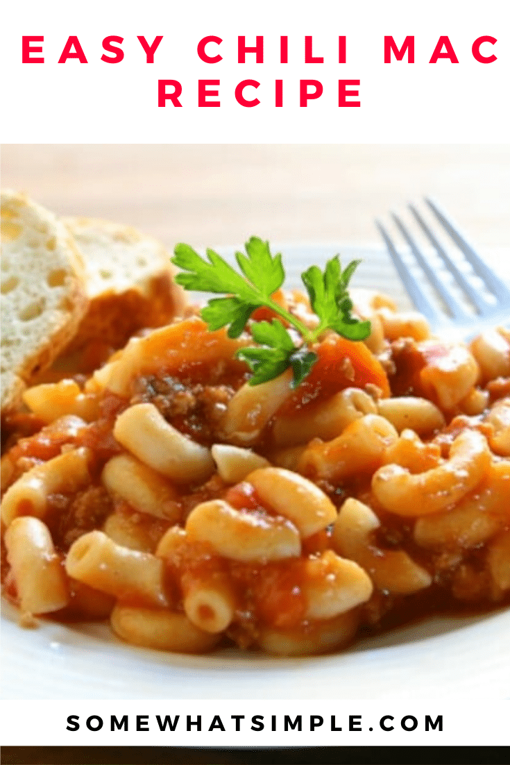 Chili mac is a delicious twist on a classic dinner recipe your family will love. Made with just a few simple ingredients, and ready in just minutes, it's the perfect meal for a busy night. #chilimac #chilimacaroni #easychilimacrecipe #chilimacandcheese #chilimaccasserole via @somewhatsimple