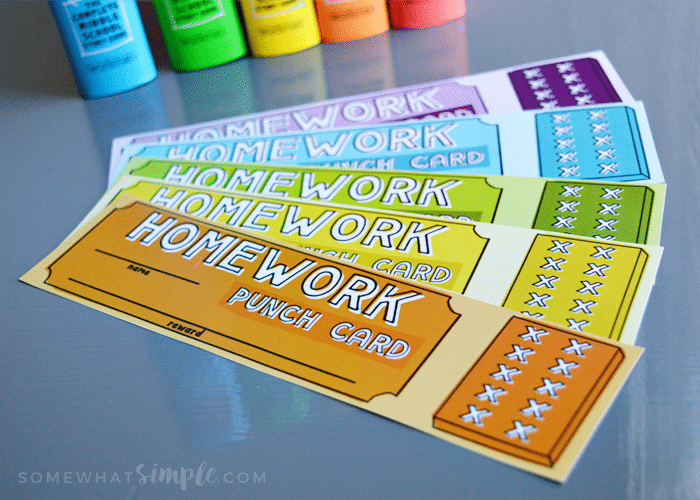 Homework punch card bookmarks free download